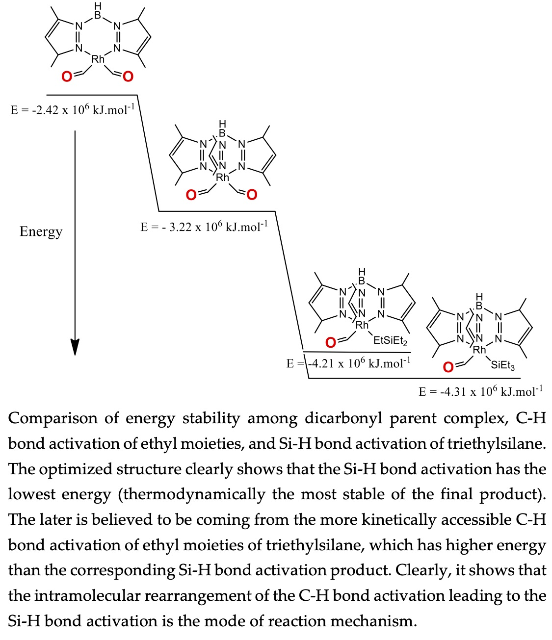 Comparison of energy stability among dicarbonyl parent complex, C-H bond activation of ethyl moieties, and Si-H bond activation of triethylsilane. The optimized structure clearly shows that the Si-H bond activation has the lowest energy (thermodynamically the most stable of the final product). The later is believed to be coming from the more kinetically accessible C-H bond activation of ethyl moieties of triethylsilane, which has higher energy than the corresponding Si-H bond activation product. Clearly, it shows that the intramolecular rearrangement of the C-H bond activation leading to the Si-H bond activation is the mode of reaction mechanism.